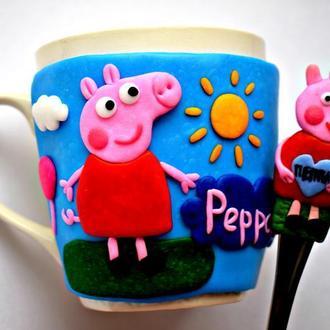 Чашка свинка пеппа, кружка пеппа, ложка свинка пеппа, ложка с декором, чашка детская, чашка пеппа
