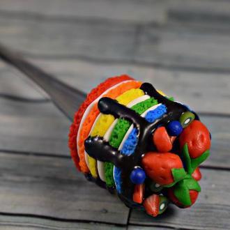 Ложка с декором, вкусная ложка, ложка из полимерной глины, вкусная ложка купить украина, ложка торт
