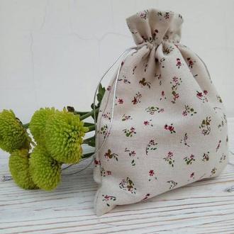 Декоративный мешочек,льняной мешочек,  косметичка-мешочек, упаковка