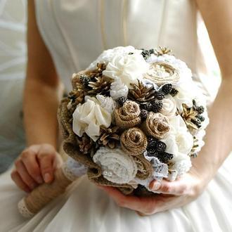 Весільний букет рустикально-кремовий