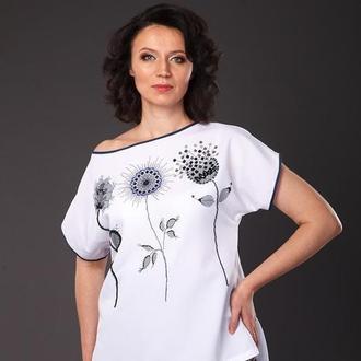 Блуза свободная с бисерной вышивкой