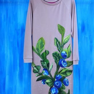 Женское платье с ручной росписью. Роспись одежды. Рисунки на одежде.