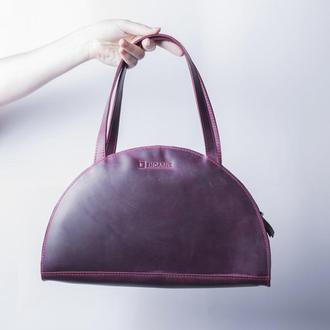 Кожаная женская сумка з двумя ручками / IN07002 бордо