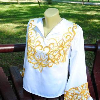 Атласная блуза с золотой вышивкой бисером