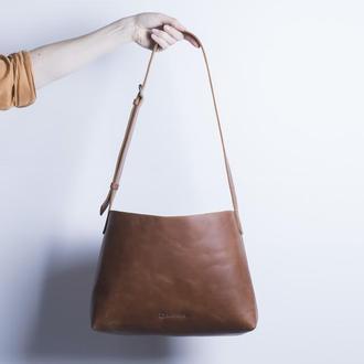 Женская кожаная сумка./ IN07004 коньяк
