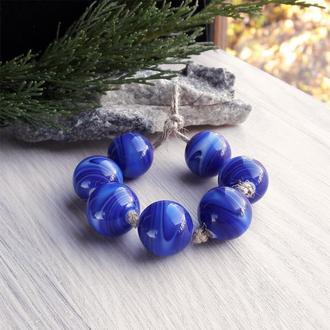 Бусины лэмпворк полосатые синие кобальт