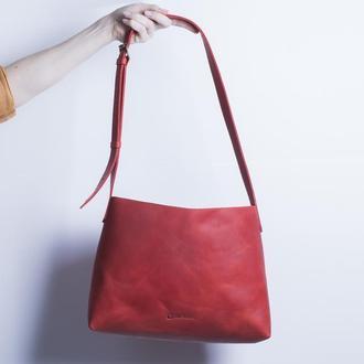 Шкіряна сумка на плечі./ IN07004 червоний