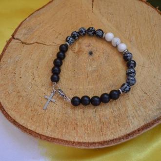 Мужской браслет с обсидианом, магнезитом и шунгитом с крестом  ′Уран′