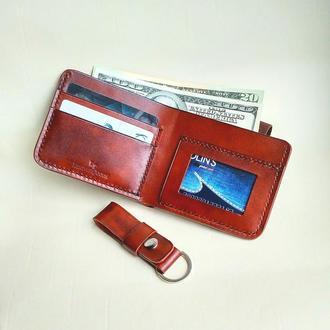 Кожаный мужской бумажник на резинке