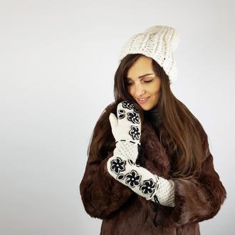 Теплые модные варежки из альпаки
