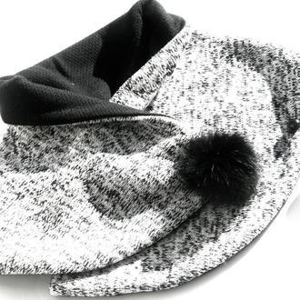 """Шарф """"Париж"""", мини-снуд, шарф с мехом, шарф на пуговицах, подарок женщине"""