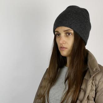 Bregoli design двойная шапка бини женская меринос шелк серая серый графит