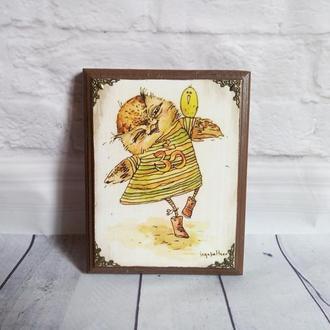Панно настенное декоративное Совушка Сова Совы Деревянное Панно на стену с совой Декор стен