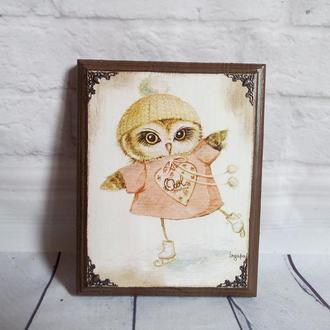 Настенное панно Совушка Панно для кухни детской Декоративное панно с совами Картины панно Сова Совы