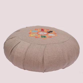 Подушка для медитации дзафу с ручной вышивкой