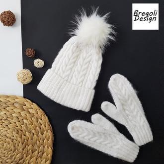 чудесная зимняя белая шапка ангора меринос мохер от Bregoli design
