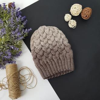 Bregoli design вязаная теплая шапка без отворота с белым бубоном цвет градиент