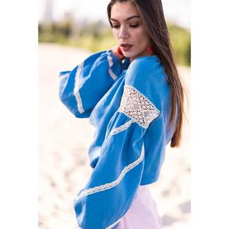 Вишиванка жіноча блакитна з мереживом ручной работы купить в Украине ... 35b1ae9aa24ad