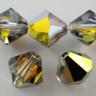 Бусины биконусы хрустальные Preciosa 10 мм Crystal Marea.  Упаковка 10шт. Скидки 60%.
