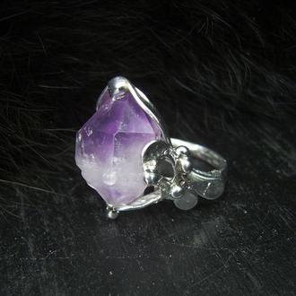кольцо кристалл аметиста, украшения с камнями, кольцо с кристаллом