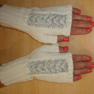 Митенки - перчатки без пальцев - нежность в белом