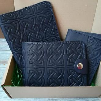 Подарочный набор из натуральной кожи темно-синий кельтский узел