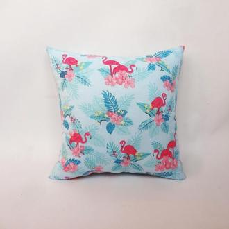 Декоративная подушка - фламинго