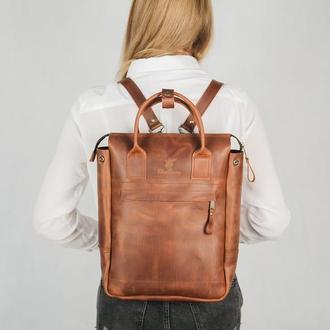 Женская сумка-рюкзак FOX, рюкзак из кожи, городской рюкзак, сумка большая через плечо, шкіряна сумка