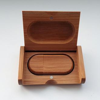 USB флешка овальная деревянная в коробке, сосна 16GB