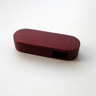USB флешка овальная выкидная деревянная, махагон 16GB
