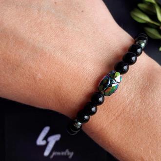 Черный браслет из натуральных камней и кристалла Swarovski жука-скарабея для женщин и мужчин