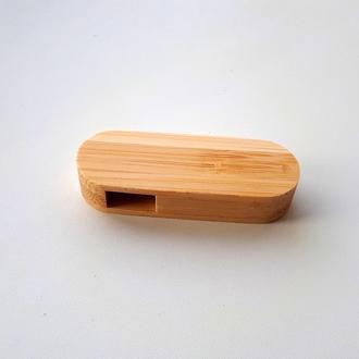 USB флешка овальная выкидная деревянная, бамбук 16GB