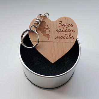 USB флешка сердце деревянное в металлической коробке, 16GB