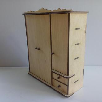 Шкаф для кукол Барби/ Кукольный шкаф/ Мебель для кукол