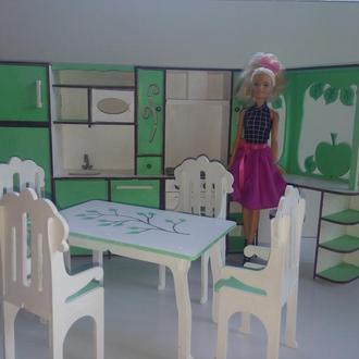 Мебель для барби/  Кукольный набор мебели для кухни/ Мебель для кукол