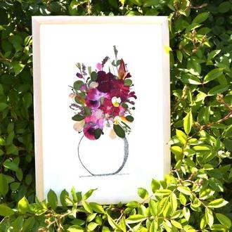 Букет з пресованих  (засушених) квітів