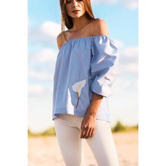 Сорочка жіноча блакитна з вишивкою