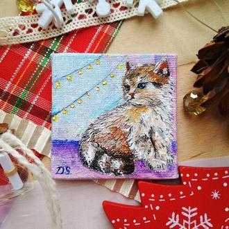 Котик у окна (миниатюра)
