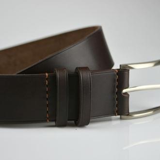 Мужской коричневый ремень Ремень на заказ Именной кожаный ремень Подарок начальнику