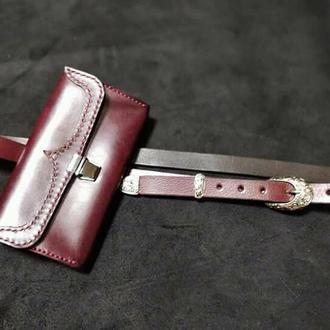жіночий гаманець із бордової шкіри
