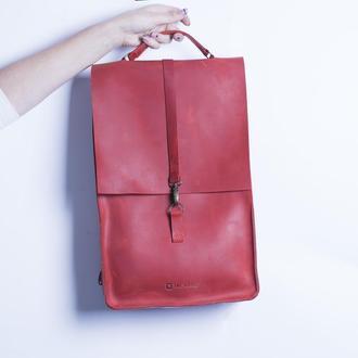 Кожаный рюкзак./ IN01001 красный