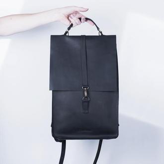 Черный кожаный рюкзак./ IN01001 черный
