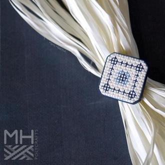 """Перстень """"Українські традиції"""" в синіх тонах з полімерної глини в техніці """"імітація вишивки"""""""