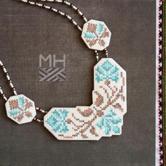 """Колье """"Украинские традиции"""" в коричнево-бирюзовых тонах из полимерной глины"""