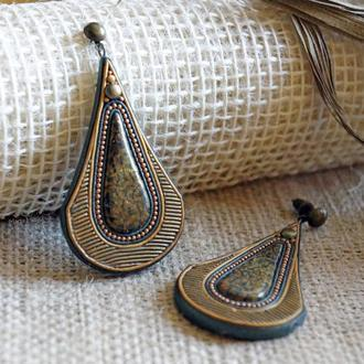 """Сережки """"Древнє золото"""" з полімерної глини в техніці """"філігрань"""""""