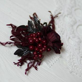 гребень черно-бордовый с ягодами