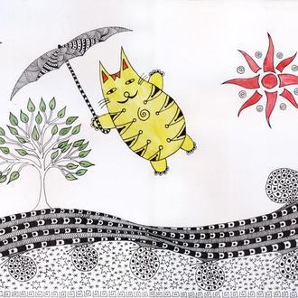 Картина А3. Кот с зонтиком. парящий в небе. Авторская работа