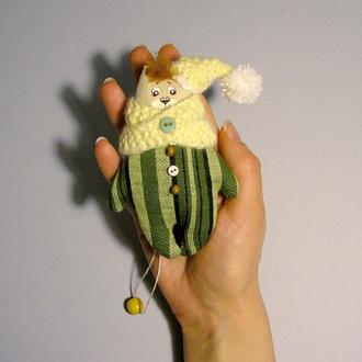 Котик гномик Игрушка кот в шапке и снуде Светло желтый зеленый декор котенок