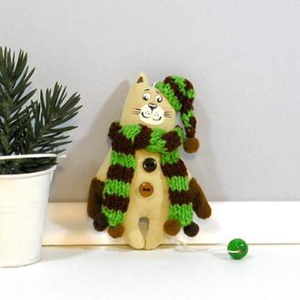 Новогодний котик в варежках Игрушка кот гном в шапке Елочная игрушка Текстильный декор котенок