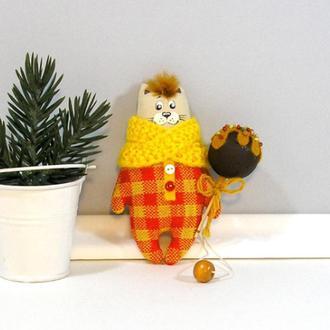 Котик сладкоежка апельсиновый Новогодний декор оранжевый Кот елочная игрушка Котенок в клетку